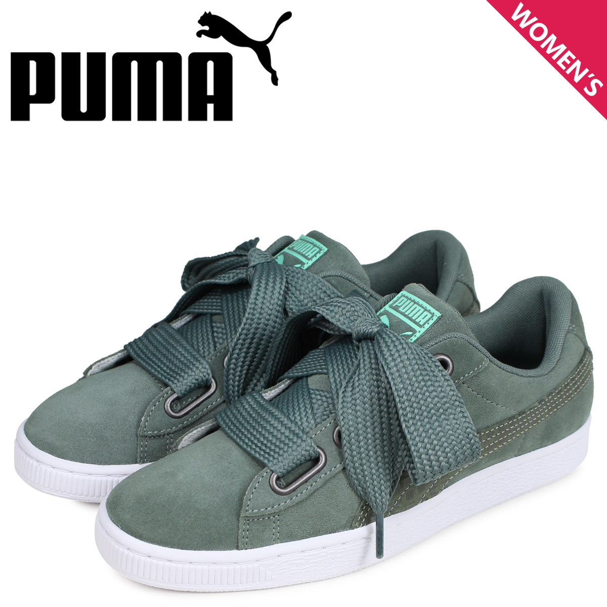 separation shoes a4358 bc548 PUMA Puma suede heart street 2 sneakers Lady's WMNS SUEDE HEART STREET 2  green 36678002