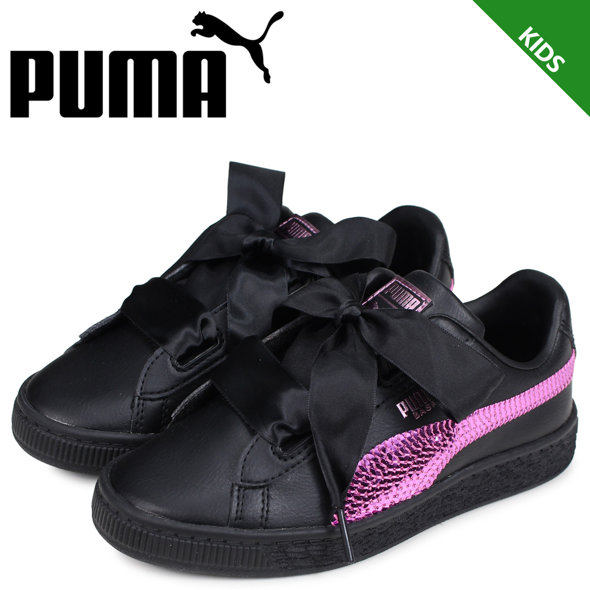 brand quality free delivery lace up in PUMA Puma basket heart sneakers kids BASKET HEART BLING PS black black  36684801