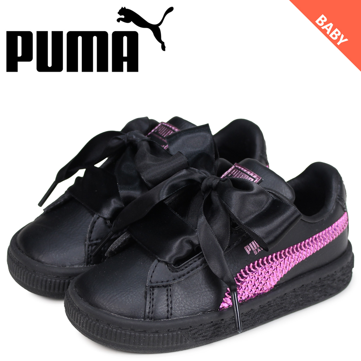 huge discount 907b1 0efe9 PUMA Puma basket heart sneakers kids baby BASKET HEART BLING INF black  black 36684901