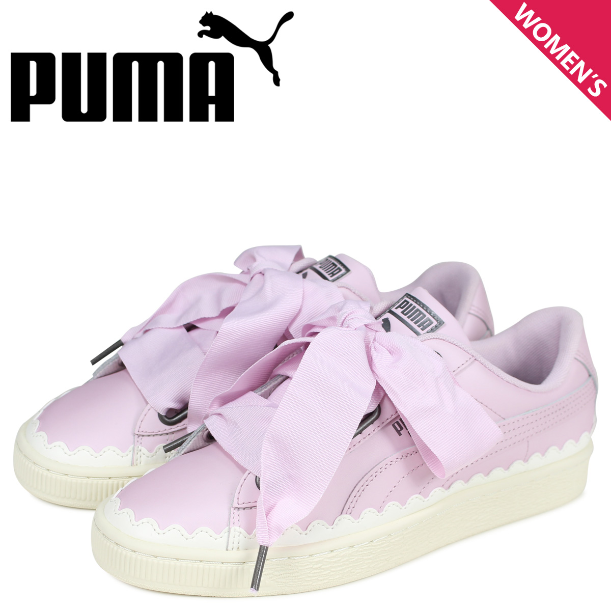 purchase cheap 07d3d 872a4 PUMA Puma basket heart sneakers Lady's WMNS BASKET HEART SCALLOP pink  36697902