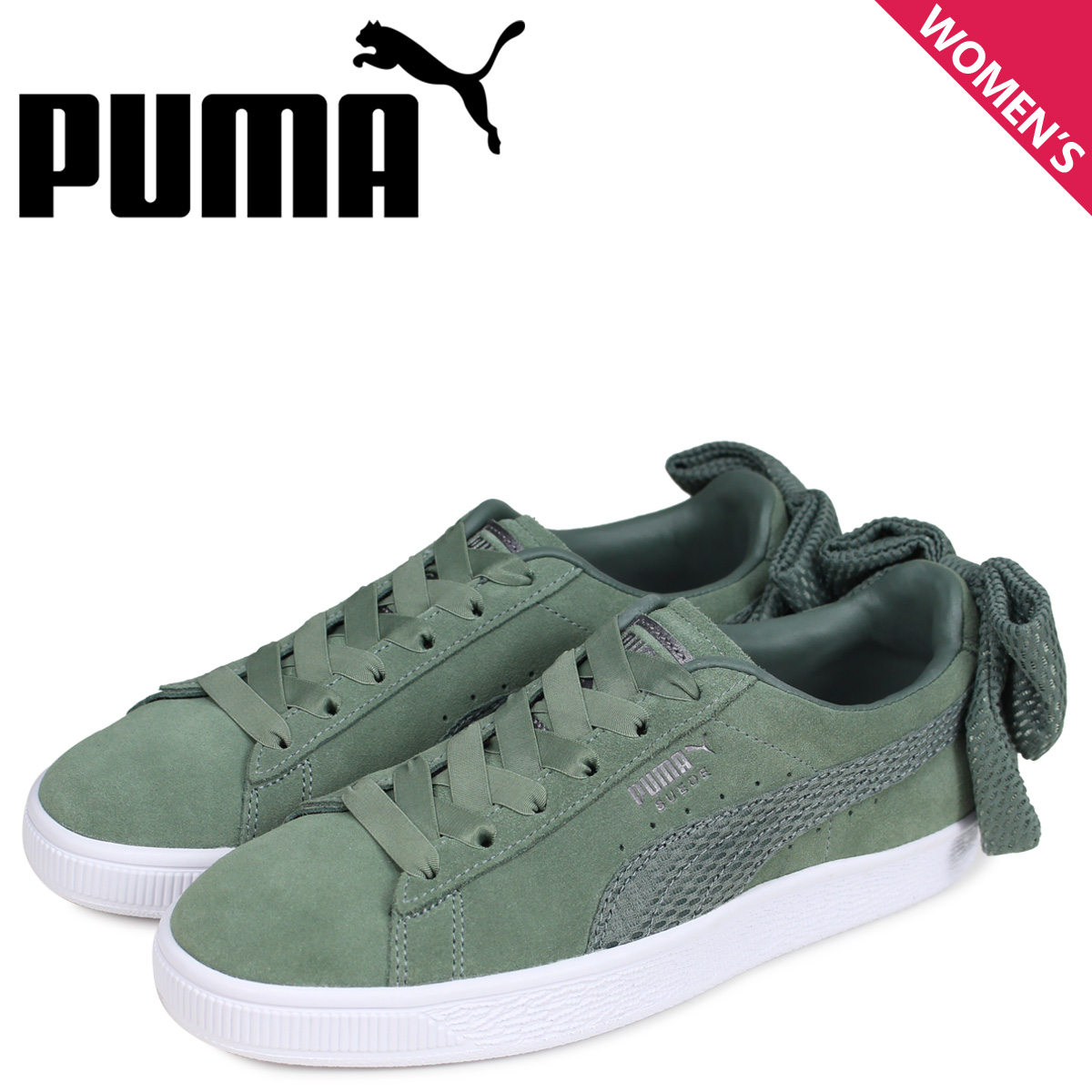 PUMA Puma suede bow tie sneakers Lady's WMNS SUEDE BOW UPRISING green 36745502