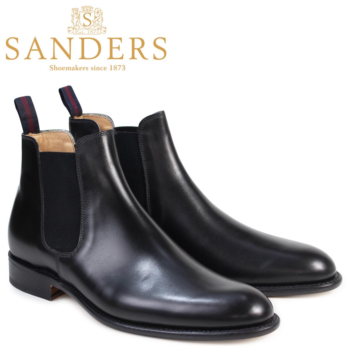 SANDERS 靴 サンダース ミリタリー サイドゴア ブーツ ビジネス BUCHAREST 1554B メンズ チェルシーブーツ ブラック
