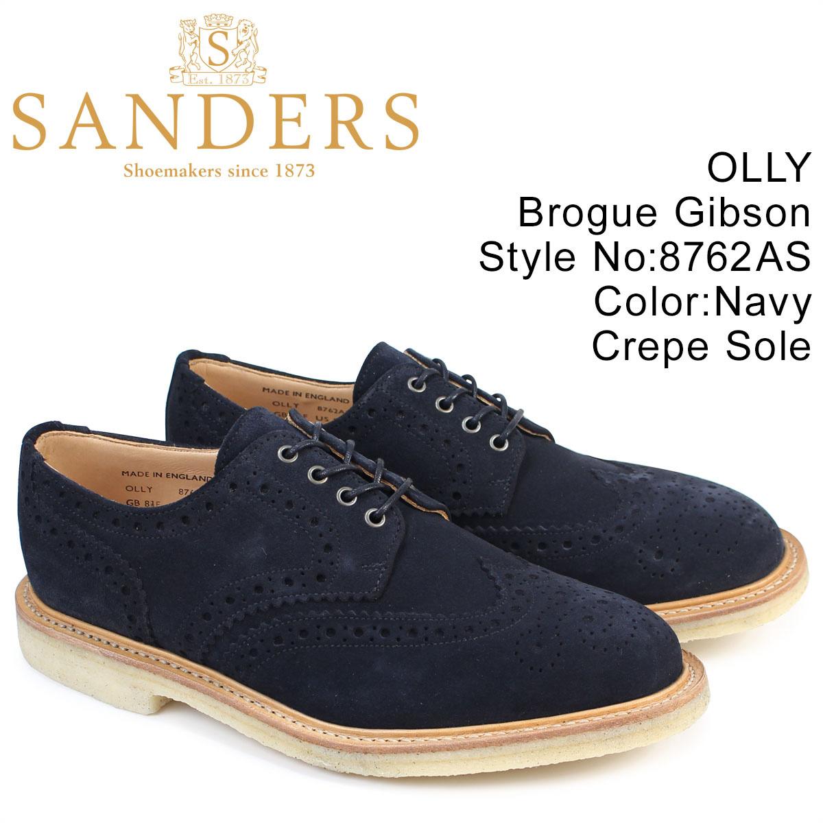 SANDERS 靴 サンダース ミリタリー オックスフォード シューズ ウイングチップ OLLY 8762AS メンズ ネイビー