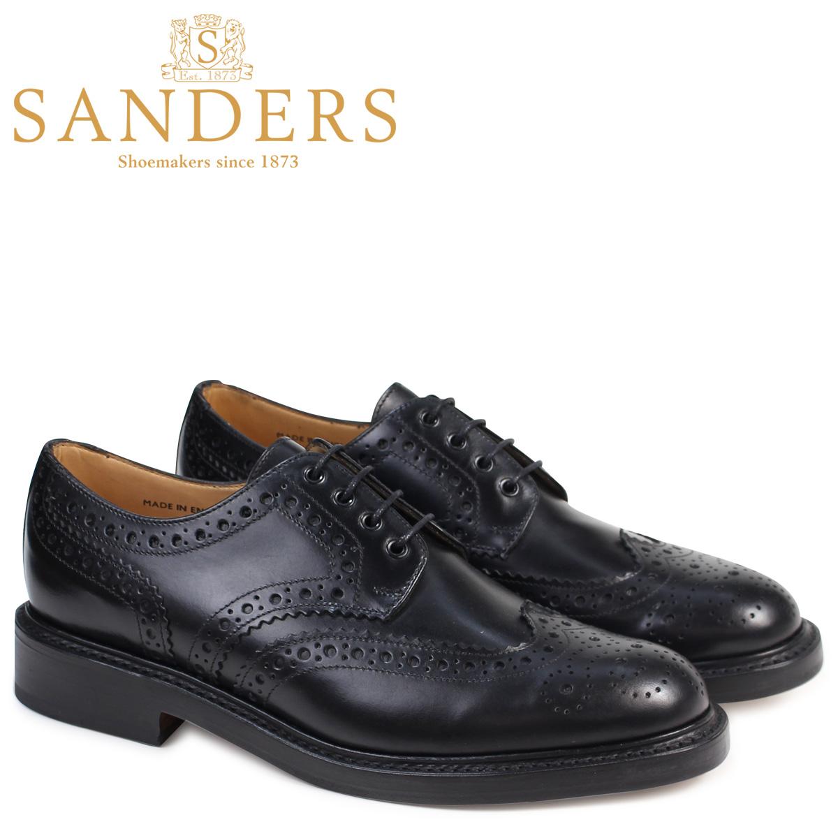 SANDERS サンダース ミリタリー オックスフォード シューズ ウイングチップ メンズ ビジネス FAKENHAM ブラック 黒 9317B