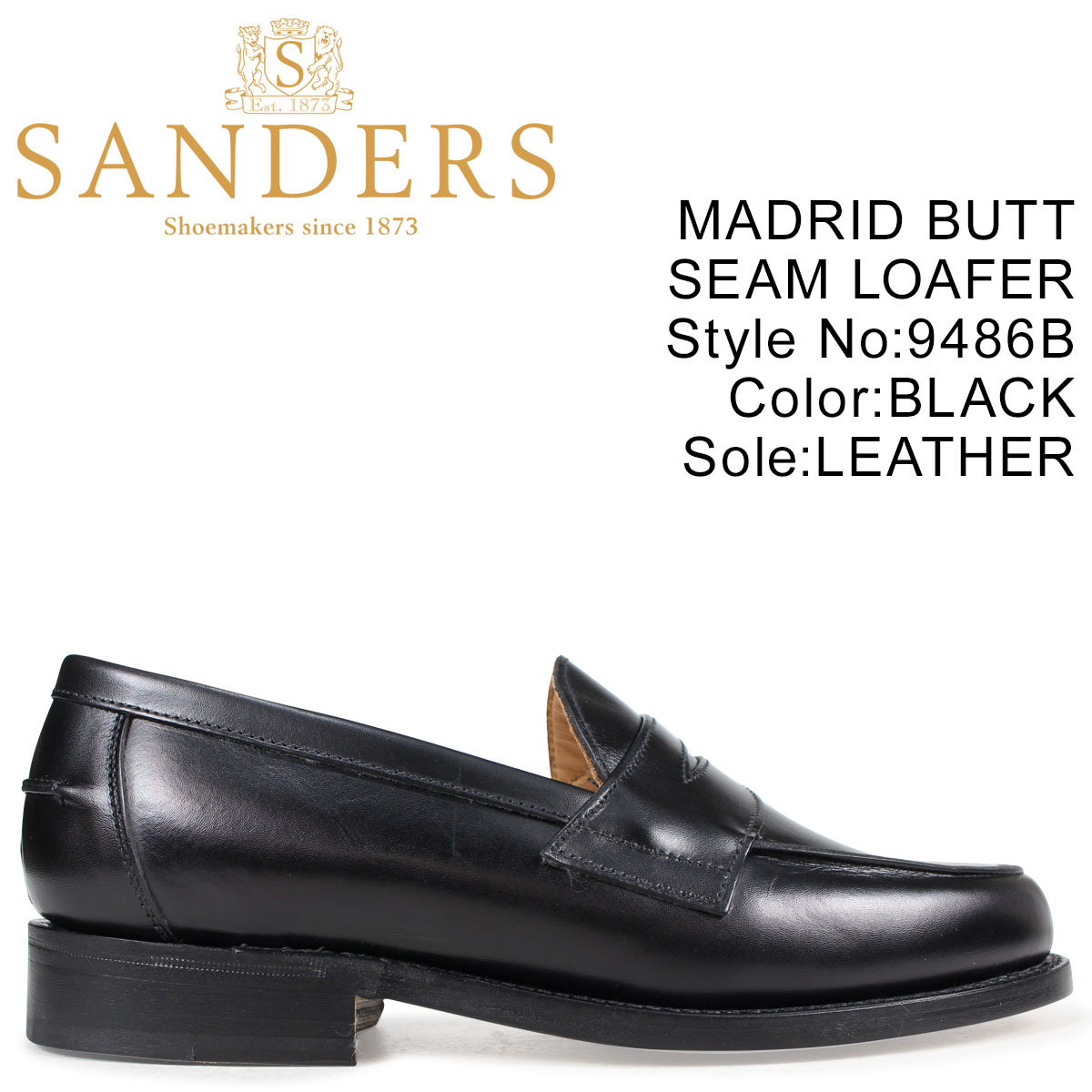 SANDERS 靴 サンダース ペニーローファー MADRID BUTT SEAM LOAFER メンズ ブラック 黒 9486B
