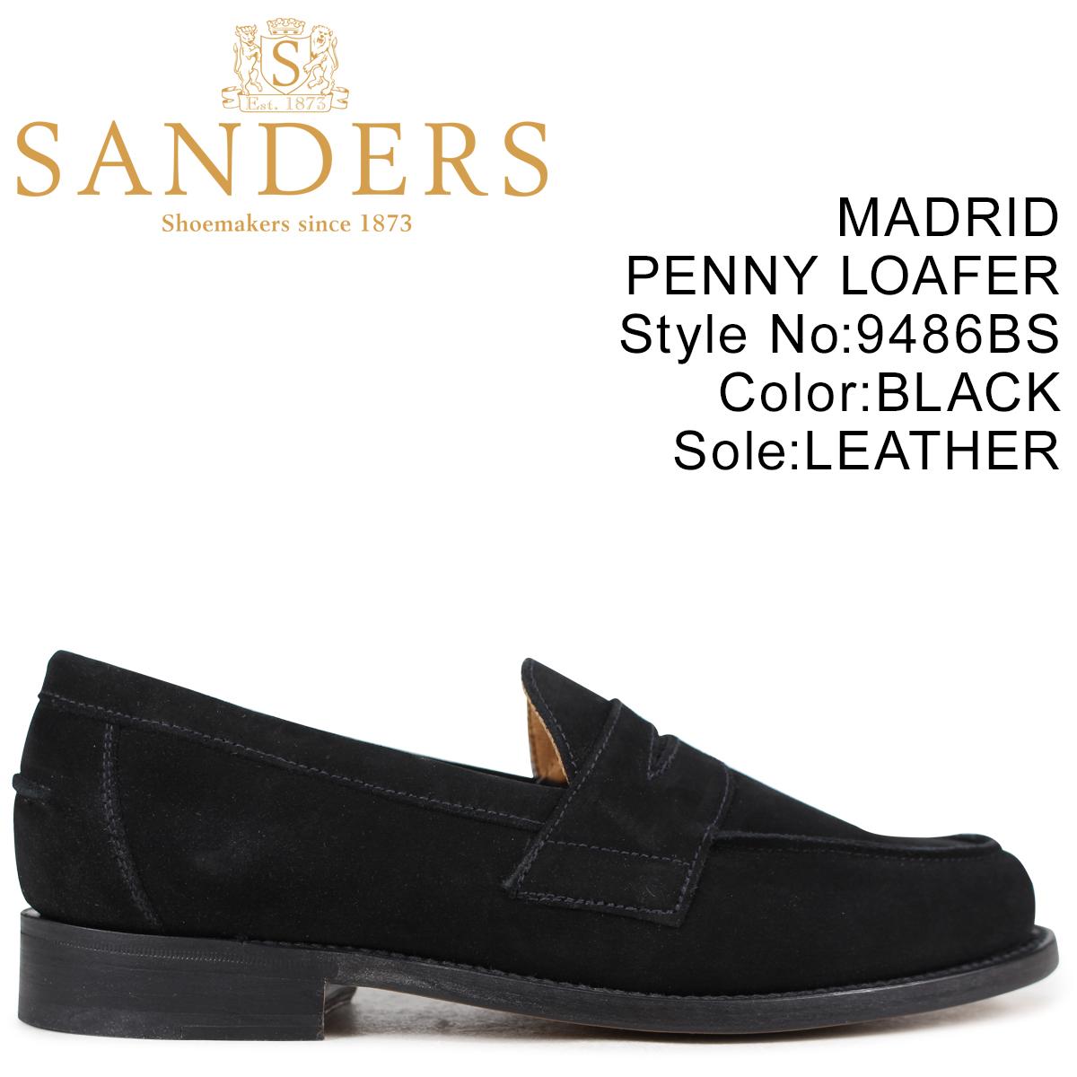 SANDERS 靴 サンダース ペニーローファー MADRID PENNY LOAFER メンズ スエード ブラック 9486BS