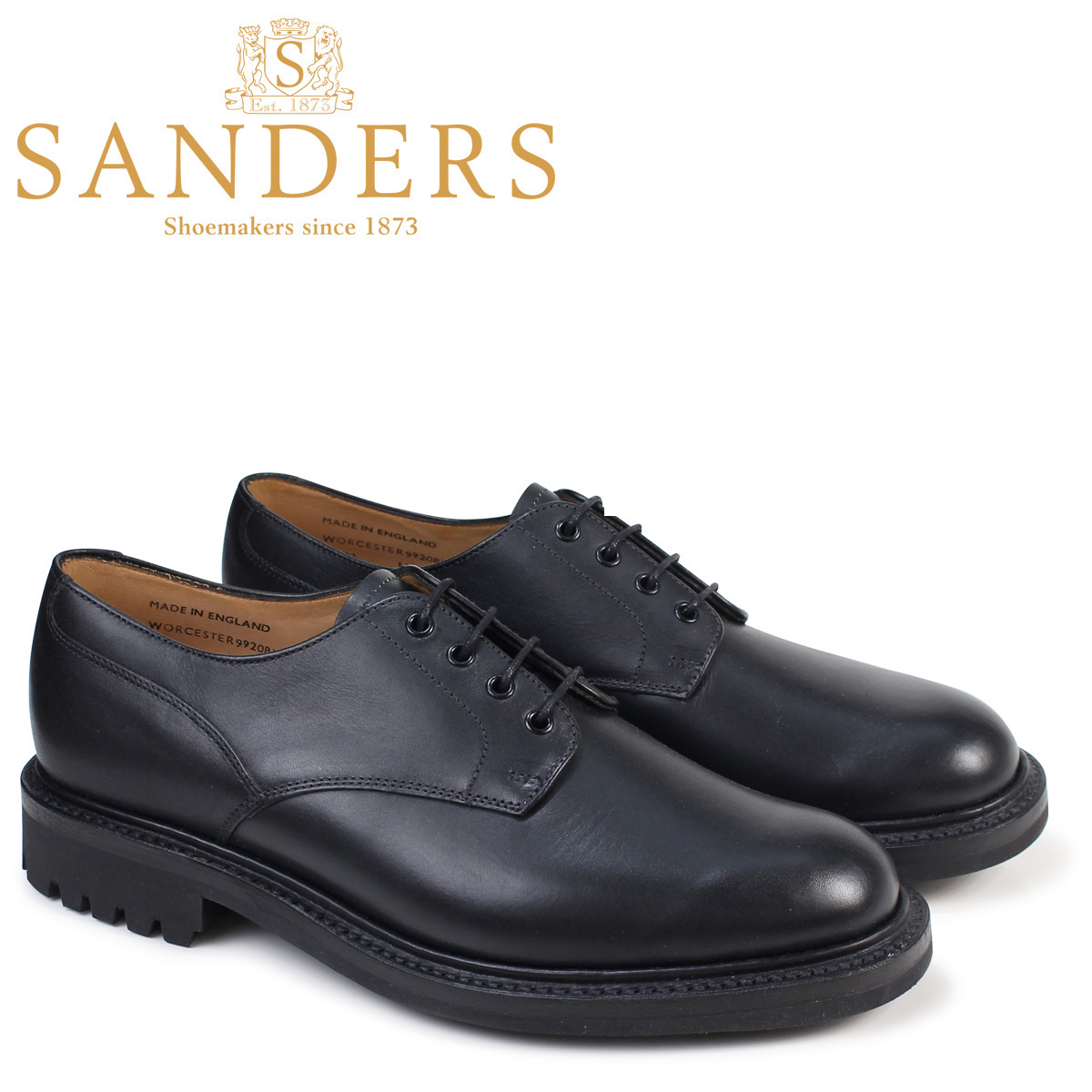 SANDERS 靴 サンダース ミリタリー オックスフォード シューズ WORCESTER 9920BW メンズ ブラック