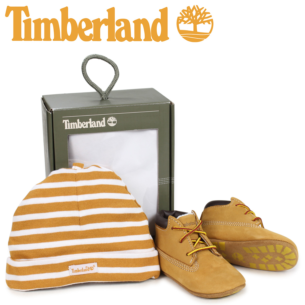 74428a34ae9 Timberland Timberland boots shoes cap hat knit hat set kids baby INFANT  CRIB BOOTIES CAP SET ギフトウィートベージュ 9589R