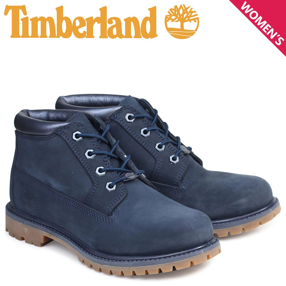 Timberland ブーツ レディース チャッカ ティンバーランド NELLIE CHUKKA DOUBLE WATERPROOF BOOTS ネリー ダブル A1K9I Wワイズ ネイビー 防水