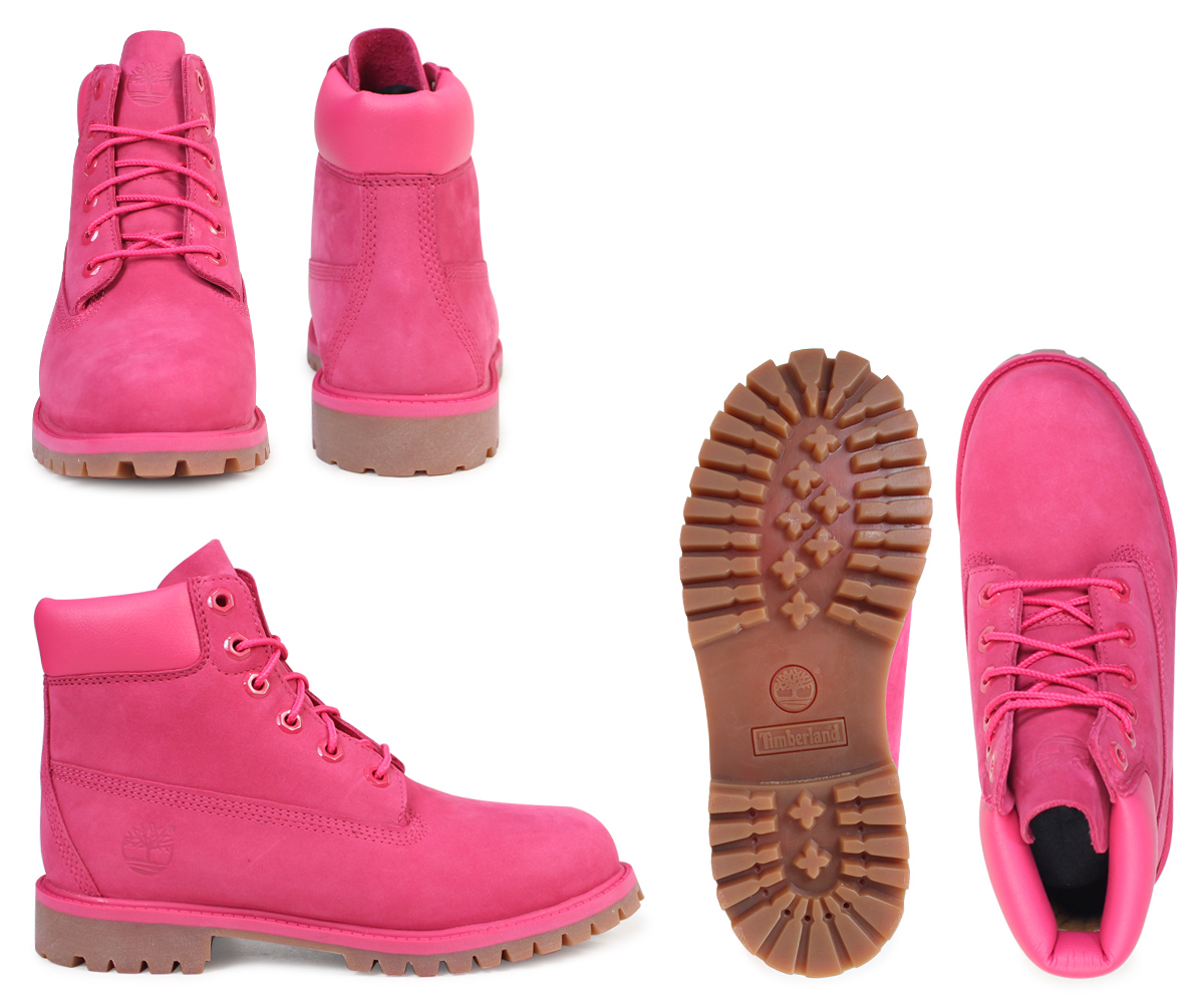 Timberland Lady's kids 6 inches Timberland boots premium JUNIOR 6INCHI PREMIUM WATERPROOF BOOTS A1ODE W Wise waterproofing pink