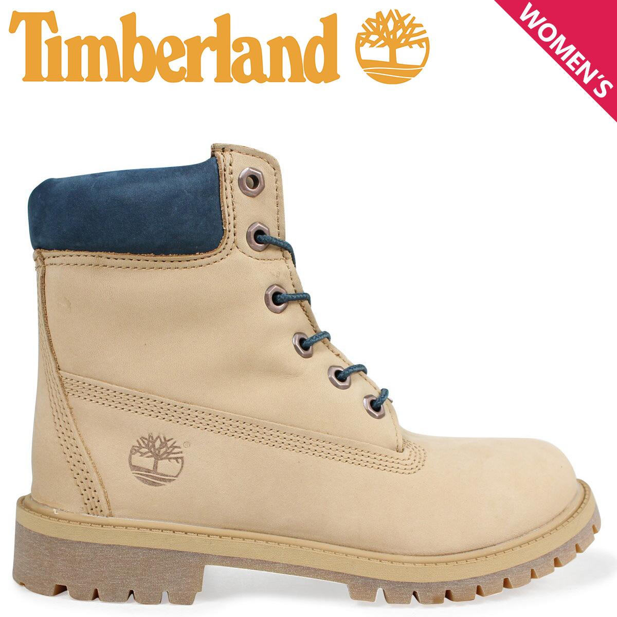 Timberland レディース ブーツ 6インチ ティンバーランド キッズ JUNIOR 6INCH WATERPROOF BOOT A1PLO Wワイズ 防水 ベージュ