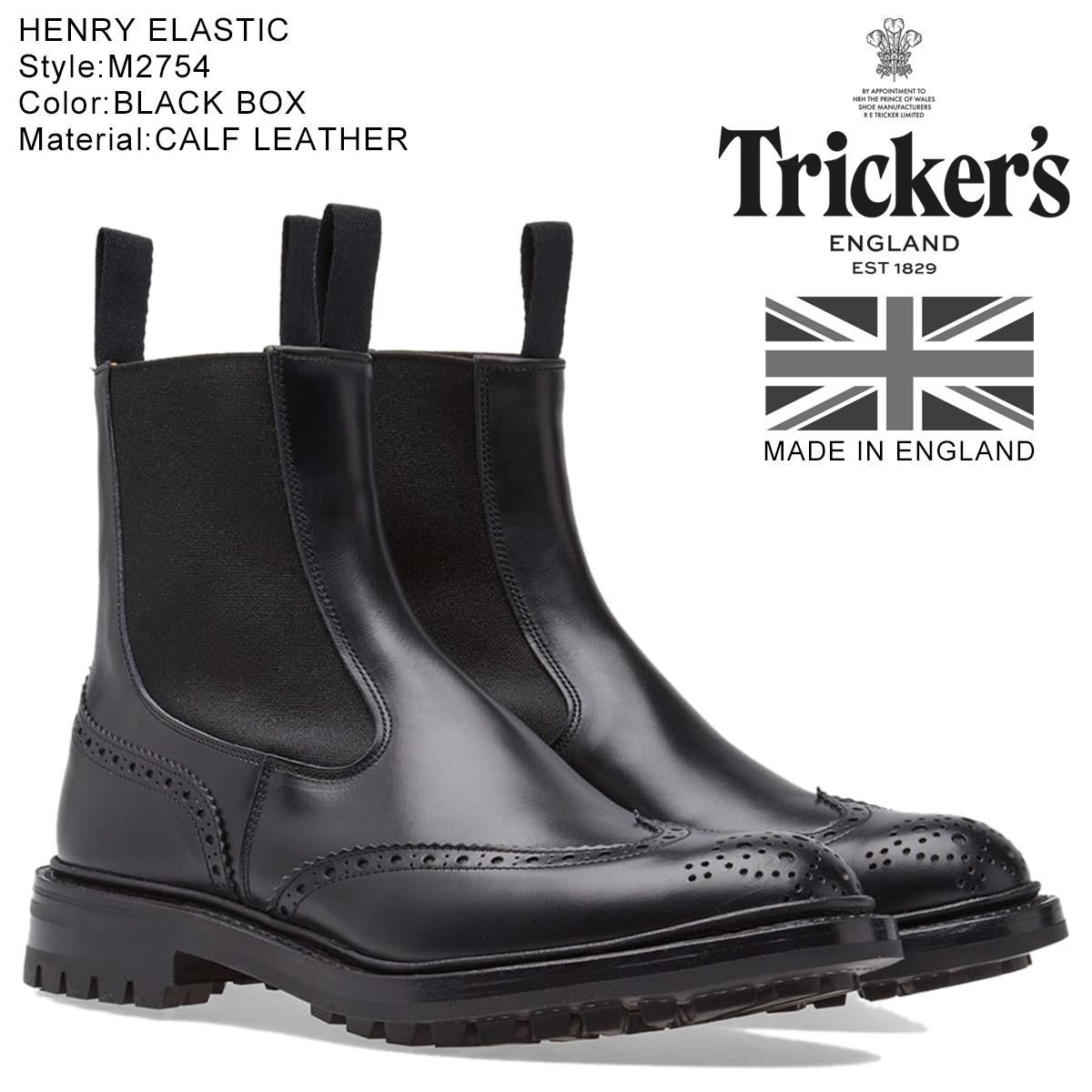 Tricker's トリッカーズ サイドゴアブーツ HENRY ELASTIC BROGUE BOOT 5ワイズ メンズ ブラック M2754