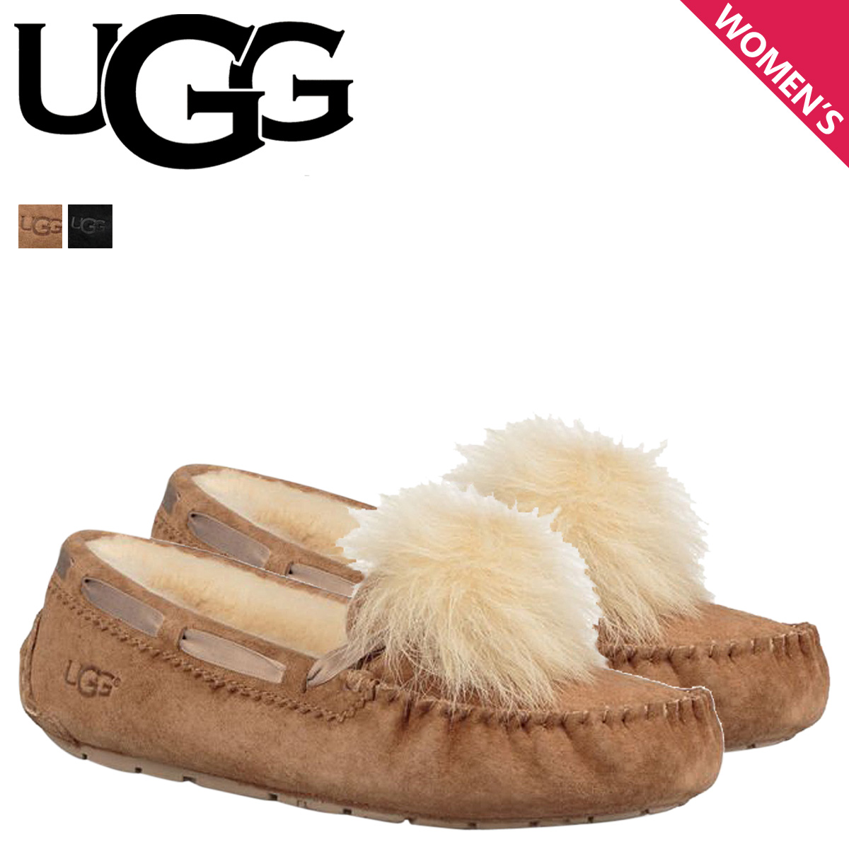 f6c75e48d42 アグ UGG moccasins Dakota Lady's mouton shoes WOMENS DAKOTA POM POM 1019015  sheepskin suede