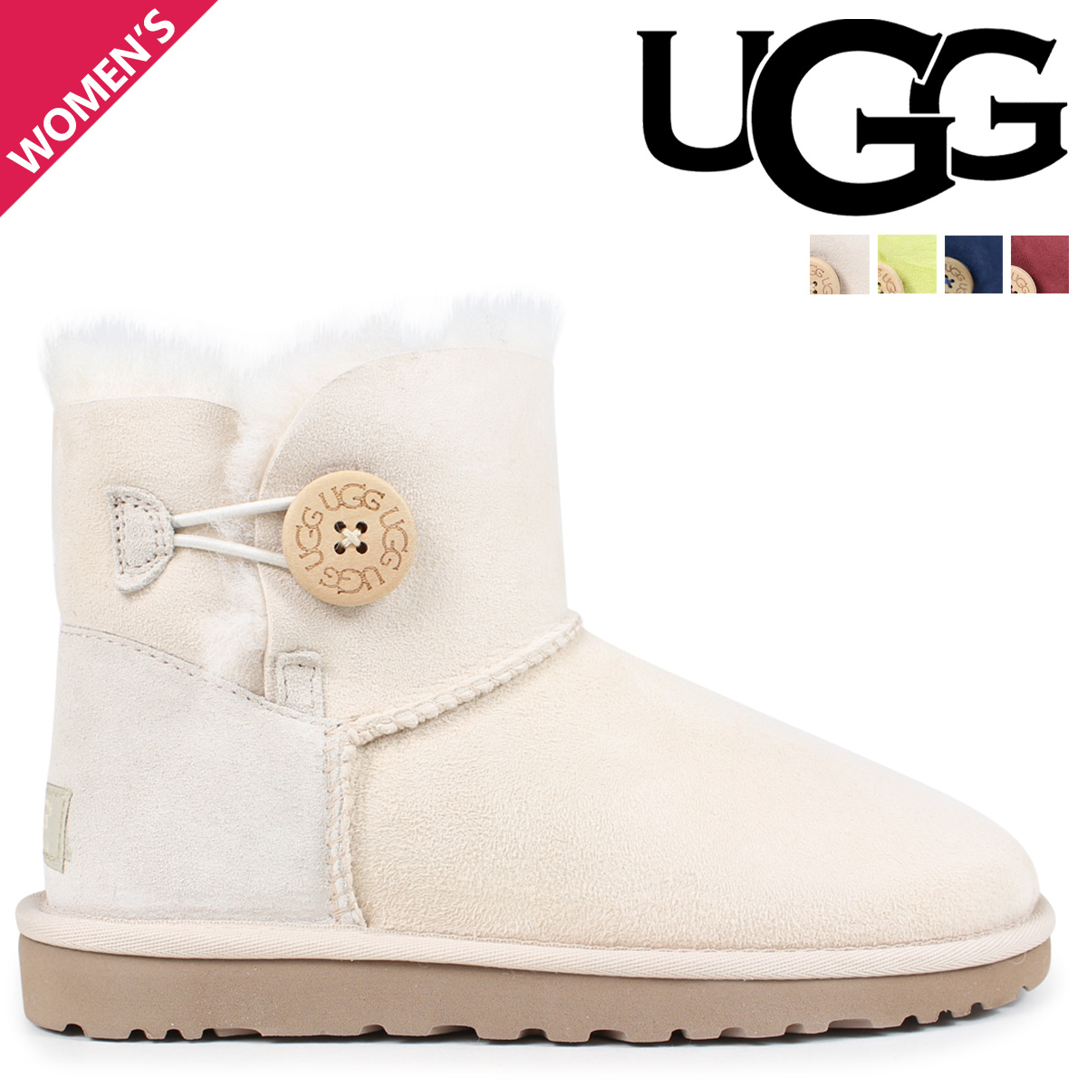 3125d06f49cb UGG UGG women s mini Bailey button Sheepskin boots 3352 WOMENS MINI BAILEY  BUTTON Womens Sheepskin at 50% off!