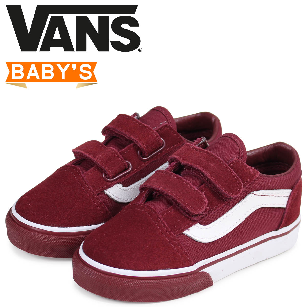 c2422d854f7770 Vans old school sneakers baby VANS station wagons TODDLER OLD SKOOL VELCRO  VN0A344KQ7H dark red  2 16 Shinnyu load
