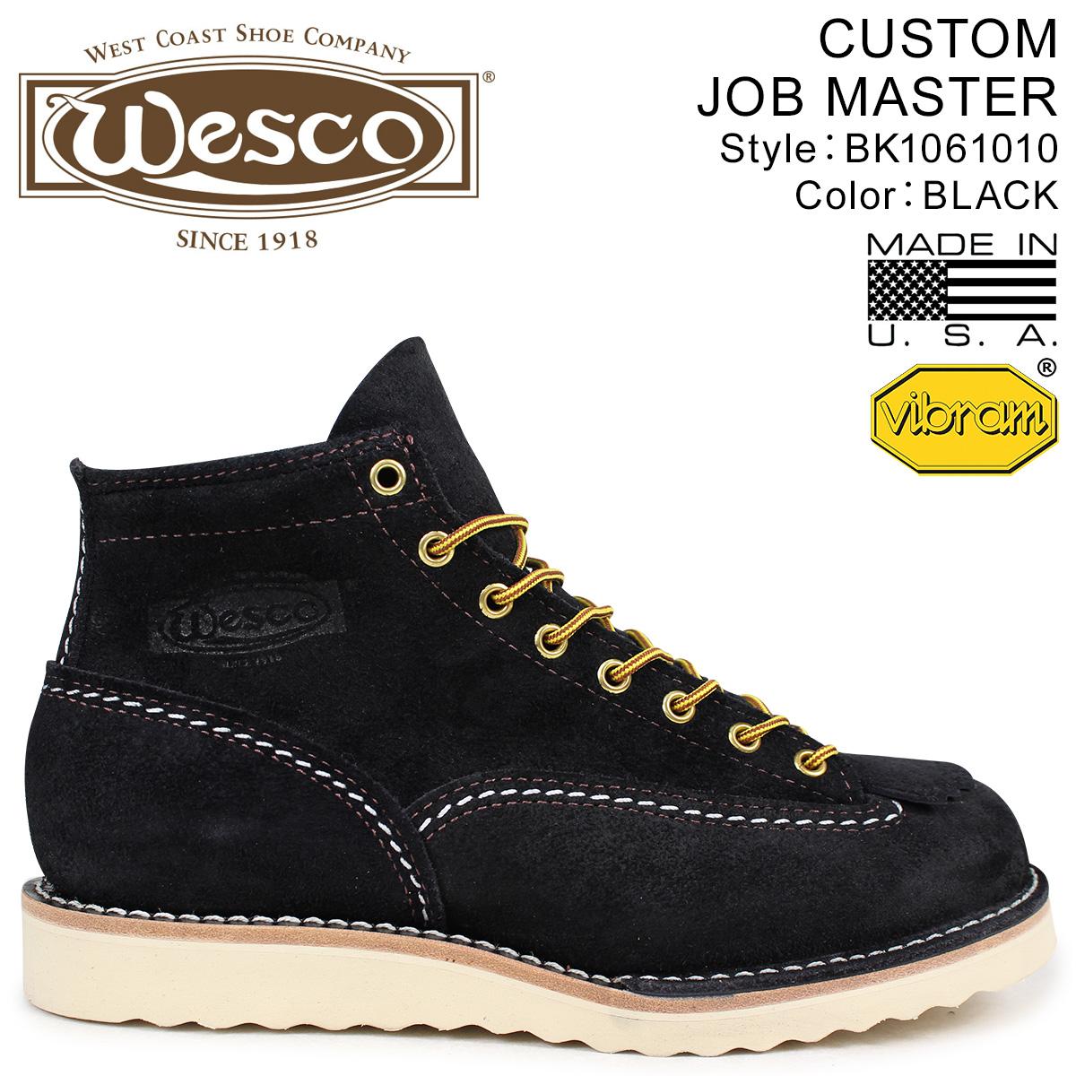 WESCO ジョブマスター ウエスコ ブーツ 6インチ カスタム 6INCH CUSTOM JOB MASTER Eワイズ スエード メンズ ブラック 黒 BK1061010 ウェスコ