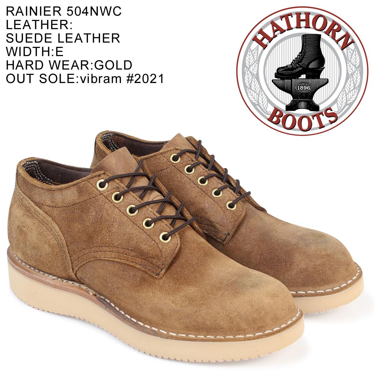 HATHORN ハソーン ホワイツ ブーツ レーニア オックスフォード ブラック RAINIER OXFORD Eワイズ ラフアウト 504NWC WHITE'S BOOTS メンズ