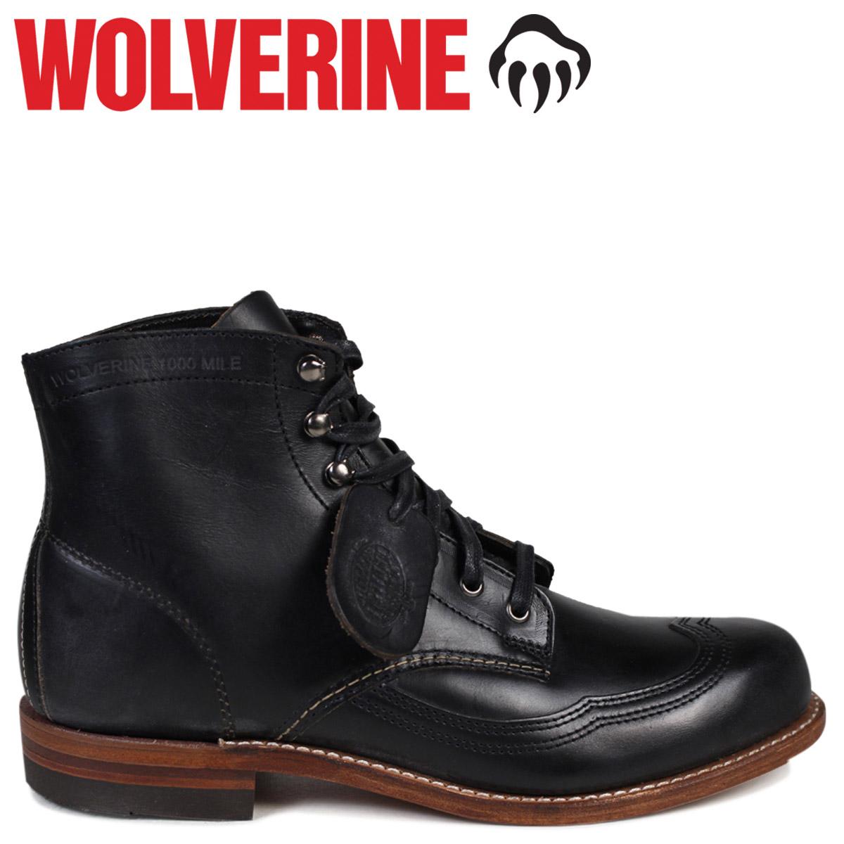 528d7866730 WOLVERINE Wolverene 1,000 miles boots ADDISON 1000MILE WINGTIP BOOT D Wise  W05344 black black wing tip work boots men