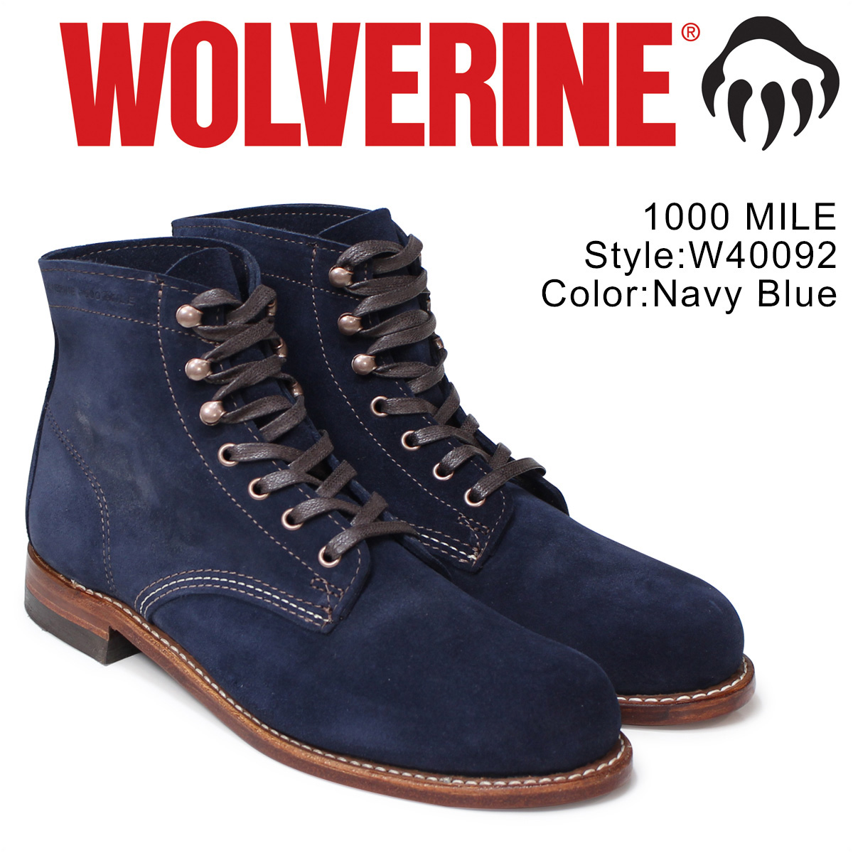 0f8df6b1d63 1000 WOLVERINE 1000 マイルブーツウルヴァリン 1000MILE work boots men MILE BOOT D Wise  W40092 navies