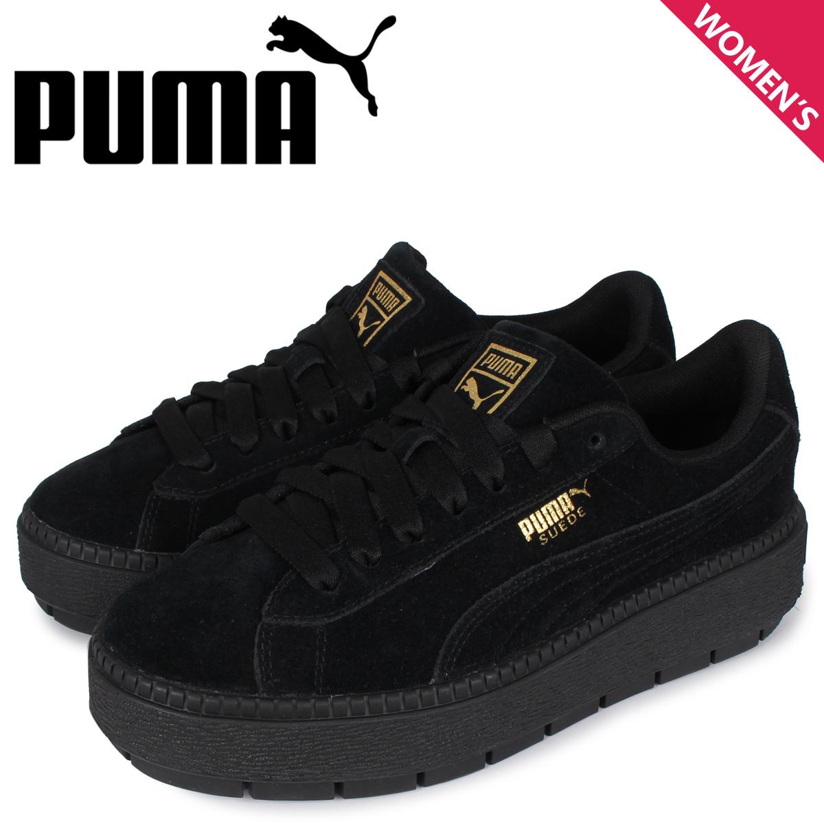 PUMA プーマ スエード プラットフォーム スニーカー レディース スウェード 厚底 SUEDE PLATFORM TRACE WMNS ブラック 黒 36583001