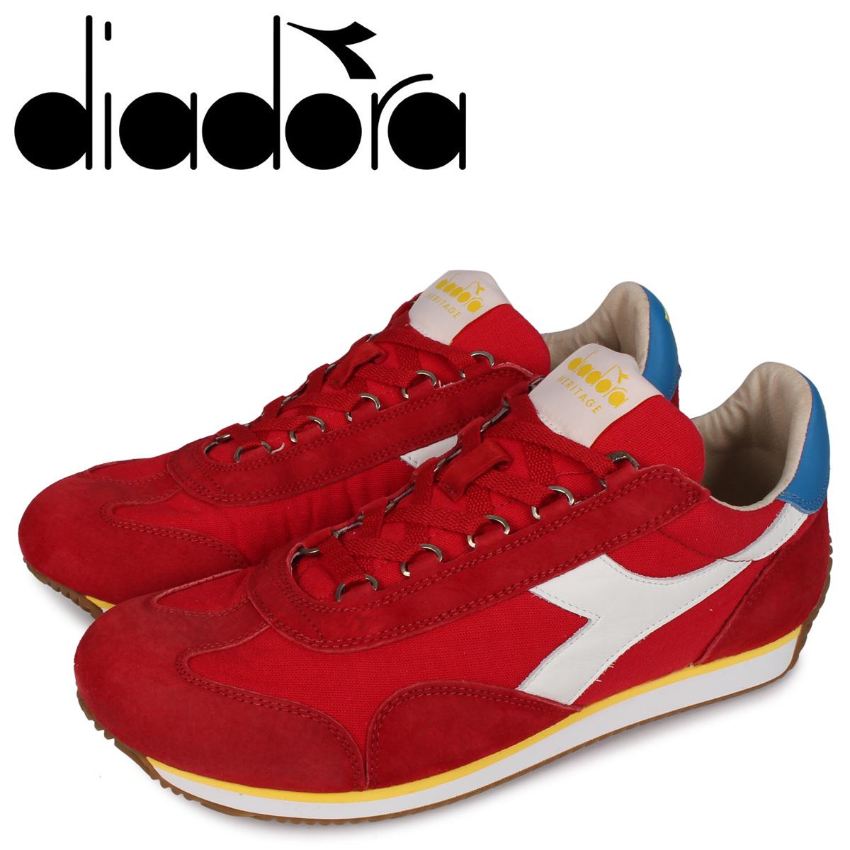 Diadora ディアドラ エキップ スニーカー メンズ EQUIPE H CANVAS STONE WASH レッド 174735-5041