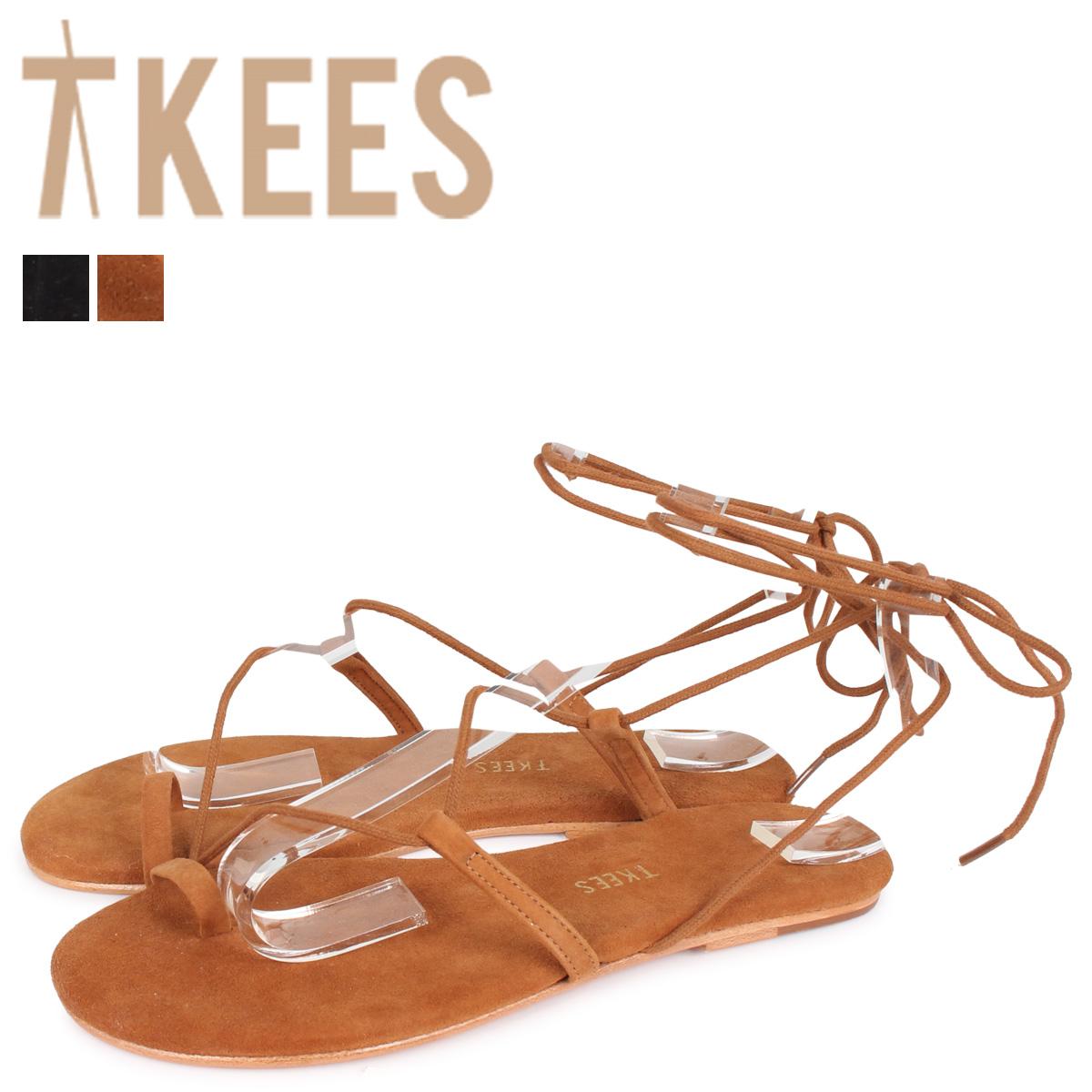 Tkees ティキーズ ジョースエード サンダル 編み上げ レディース JO SUEDE ブラック ブラウン 黒