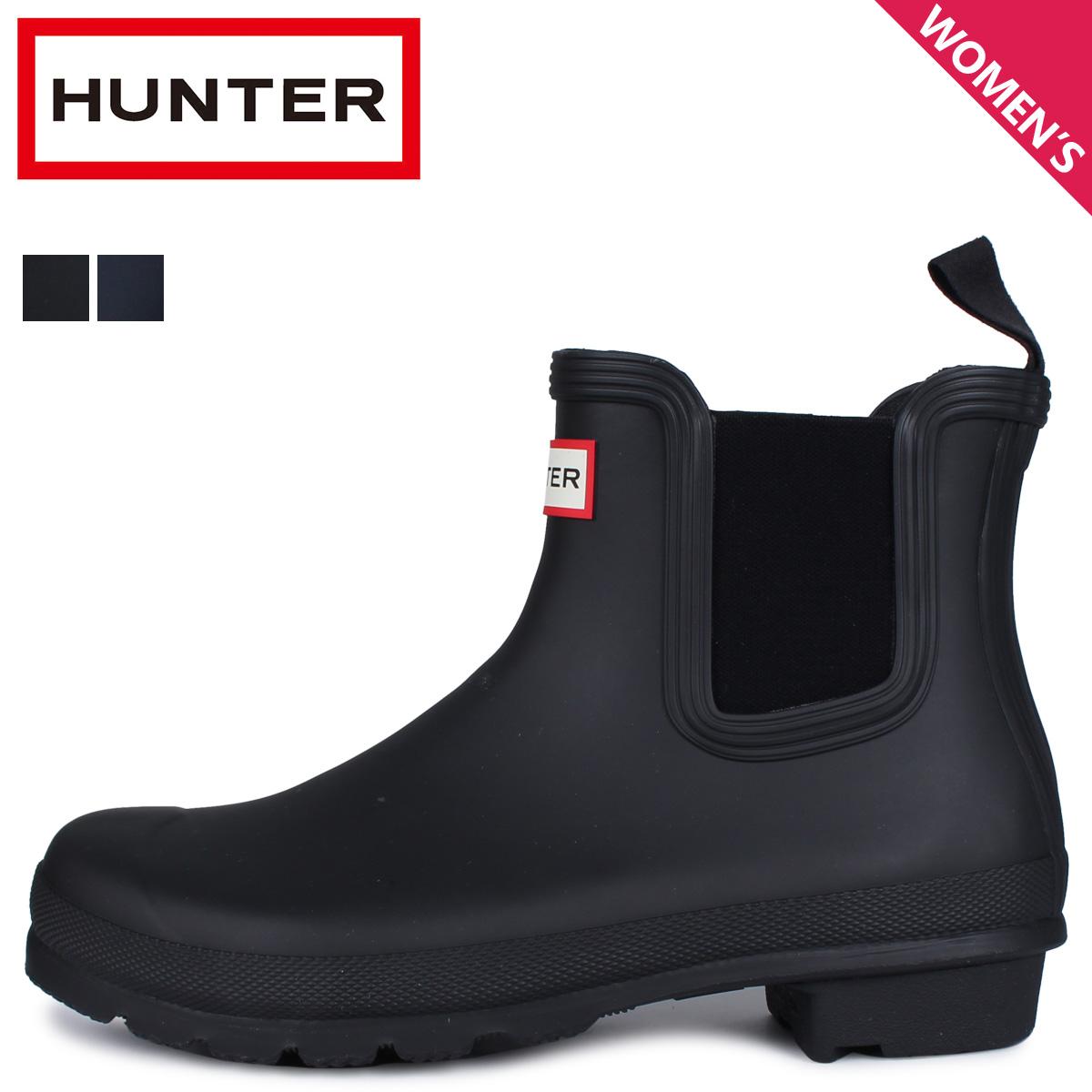 HUNTER ハンター レインブーツ 長靴 ショート ブーツ チェルシーブーツ オリジナル レディース WOMENS ORIGINAL CHELSEA ブラック ネイビー 黒 WFS2078RMA