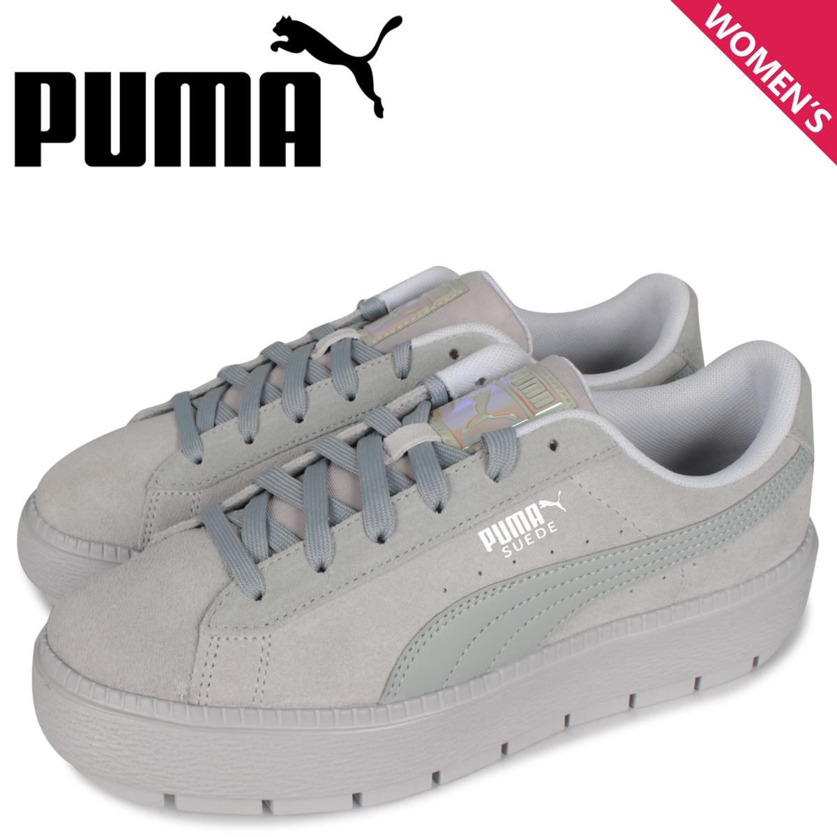 PUMA プーマ スエード プラットフォーム スニーカー レディース 厚底 SUEDE PLATFORM TRACE LITE WNS グレー 37369502
