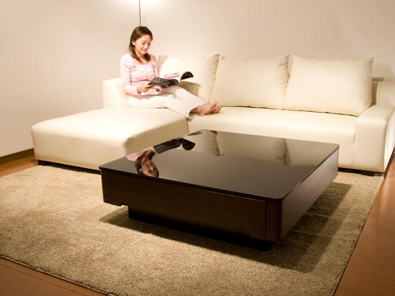 【*送料無料】ブラックガラスとニレ材の木目が美しいリビングテーブル/Arly テーブル リビングテーブル スクエアタイプ デザインテーブル ローテーブル センターテーブル 高級 デザイナーズ ガラステーブル