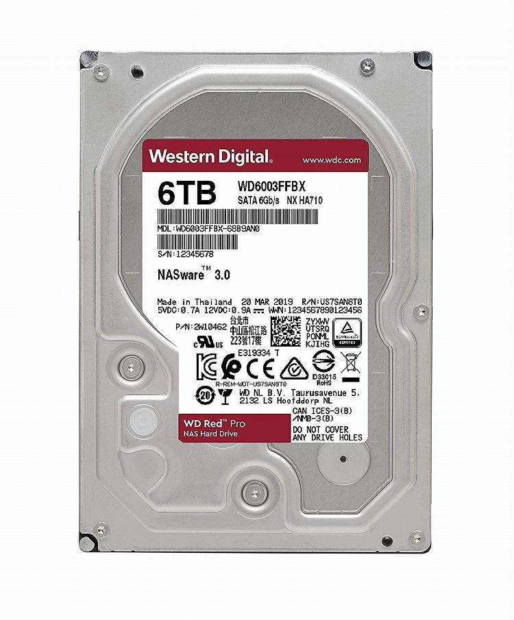 【送料無料】Western Digital WD RED HDD 6TB WD60EFRX ウエスタンデジタル ハードドライブ