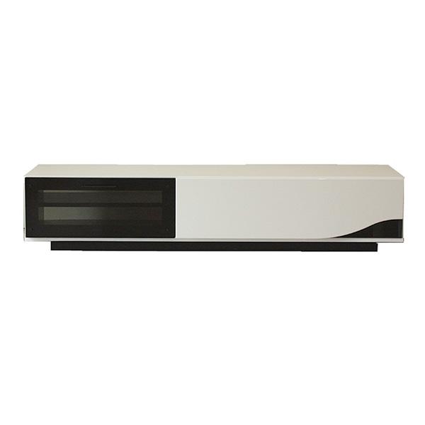 【送料無料】鏡面塗装と黒ガラスが美しい クアトロ QT 150cm 収納付き ホワイト TVボード