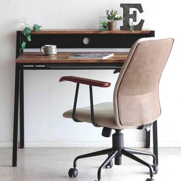 【送料無料】 リグナ 96 デスク ブラウン 引き出し 棚付き 書斎デスク ワークデスク ヴィンテージ 木製