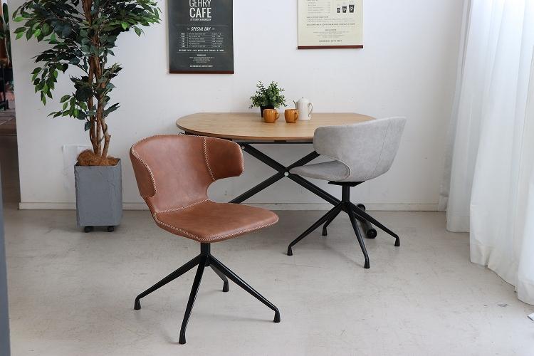 【送料無料】 アーマー ラウンドチェア 2色グレー キャメル チェア ダイニングチェア カフェ イス 椅子 北欧