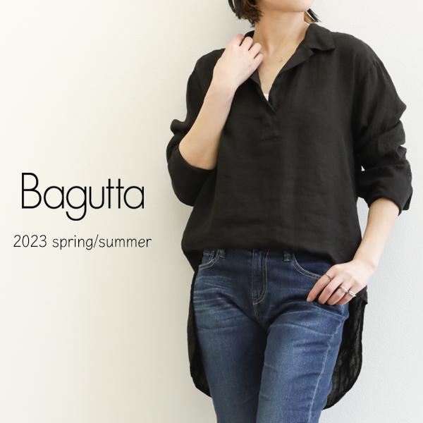 Bagutta バグッタ レディース シャツ ハイネック コットン CARRIE カーキ/ホワイト