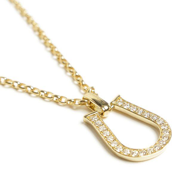 Per noi ペルノイ ネックレス K18 馬蹄 ホースシュー イエローゴールド ダイヤモンド