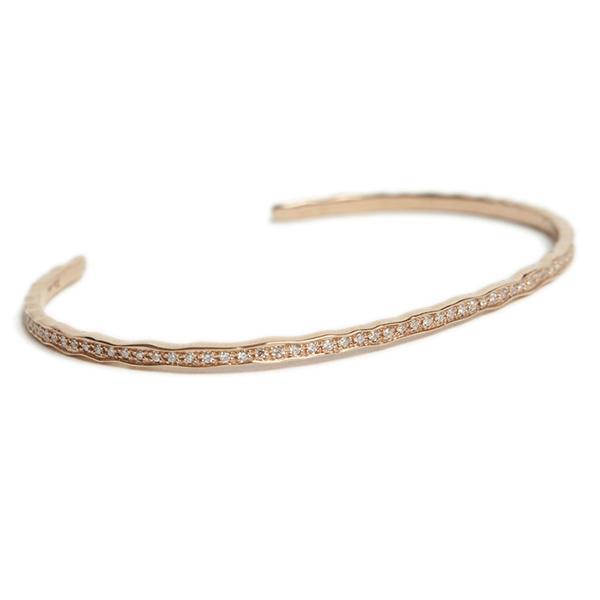Per noi ペルノイ バングル ブレスレット K18 2mm幅 ピンクゴールド フルダイヤ ダイヤモンド