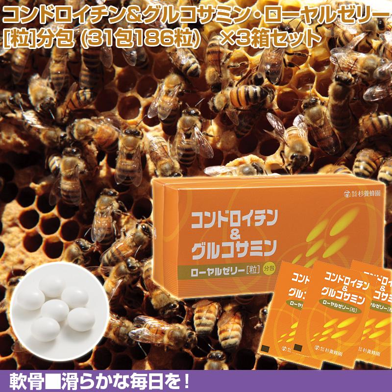 コンドロイチン&グルコサミン・ローヤルゼリー [粒]分包 (31包186粒) ×3箱セット | はちみつ 蜂蜜 ハチミツ お歳暮 お歳暮ギフト 贈答用 退職 お礼 退職祝い 忘年会 新年会 贈答品