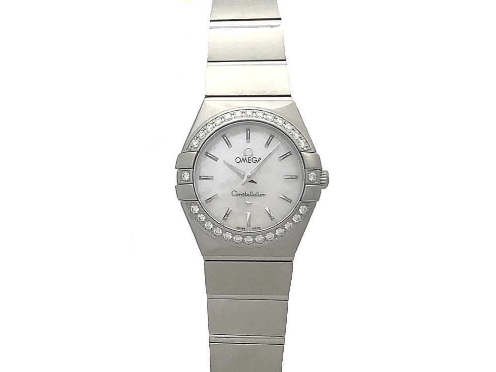 【中古】オメガ コンステレーション ブラッシュクォーツ ベゼルダイヤ 123.15.24.60.05.001 レディース 腕時計