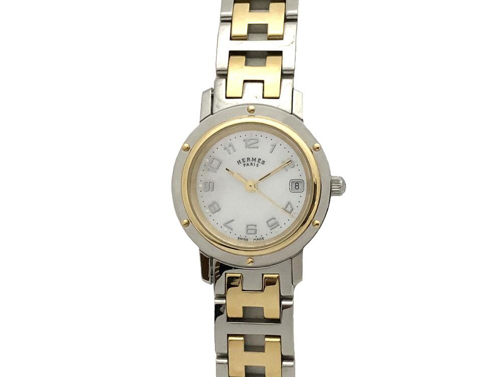【中古】エルメス クリッパー ナクレ コンビ HERMES CLIPPER NAKULE/CL4.220 クォーツ シェル 文字盤 レディース 腕時計