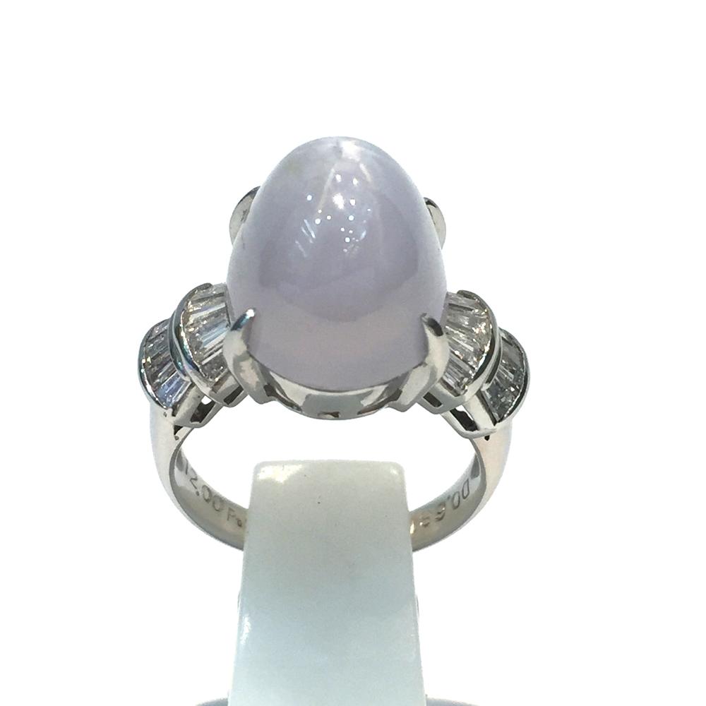 【中古】Pt900 スターサファイヤ ダイヤ リング 指輪 レディース S12.00ct D0.681ct 9.0g 9号