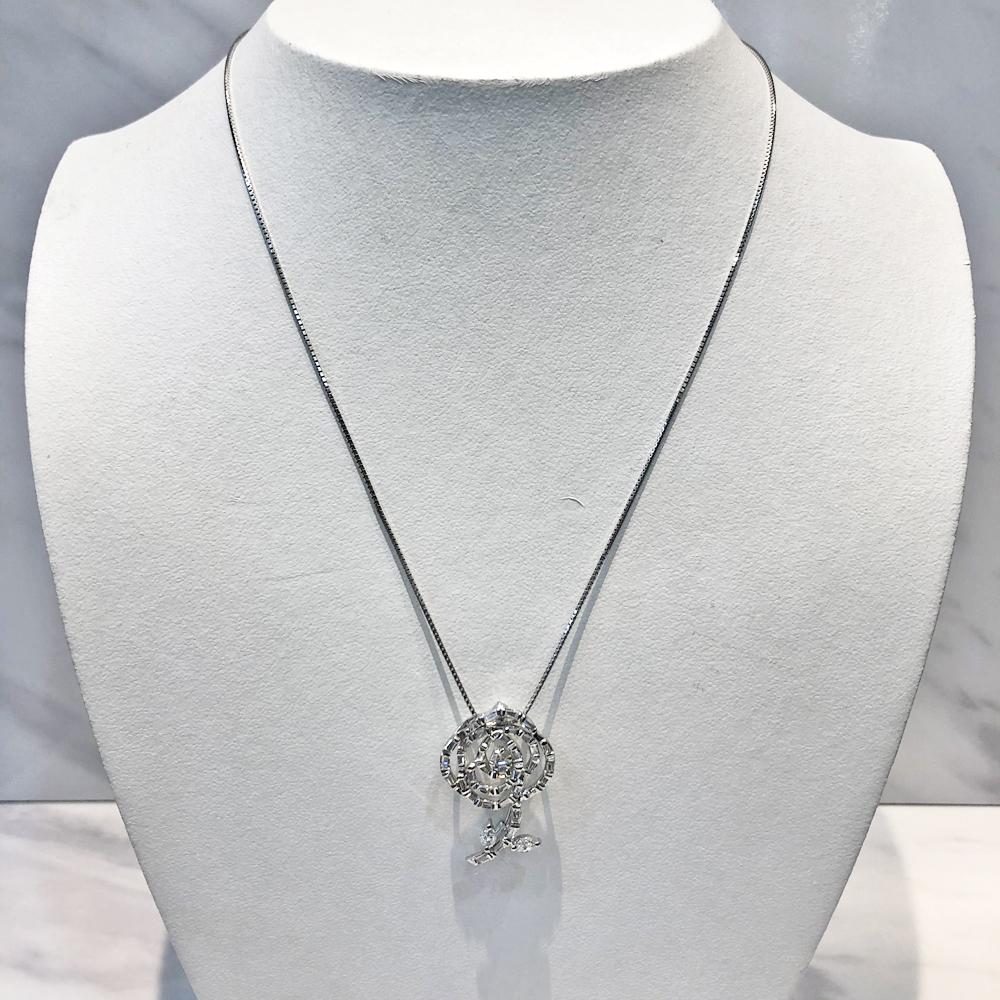 【中古】K18WG/Pt850 ダイヤ バラ ネックレス D 1.00ct