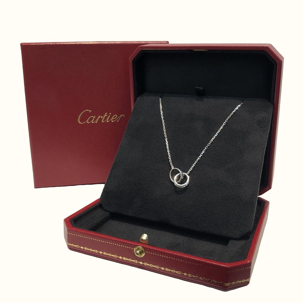 【中古】Cartier カルティエ ベビーラブ ダイヤ ネックレス ミニラブ K18WG 750WG ホワイトゴールド