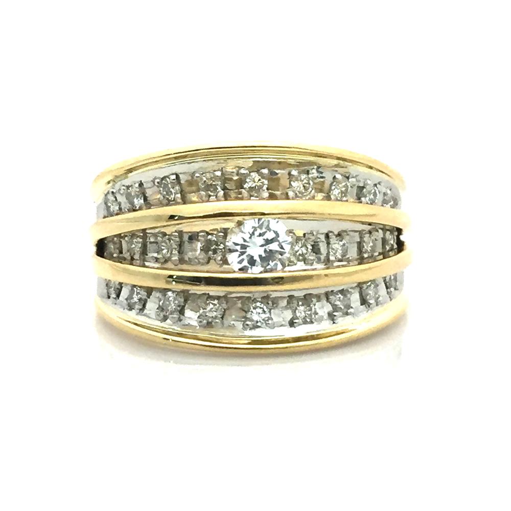 【中古】K18 Pt900 ダイヤ ファッションリング 指輪 D0.34ct D0.20ct 10号