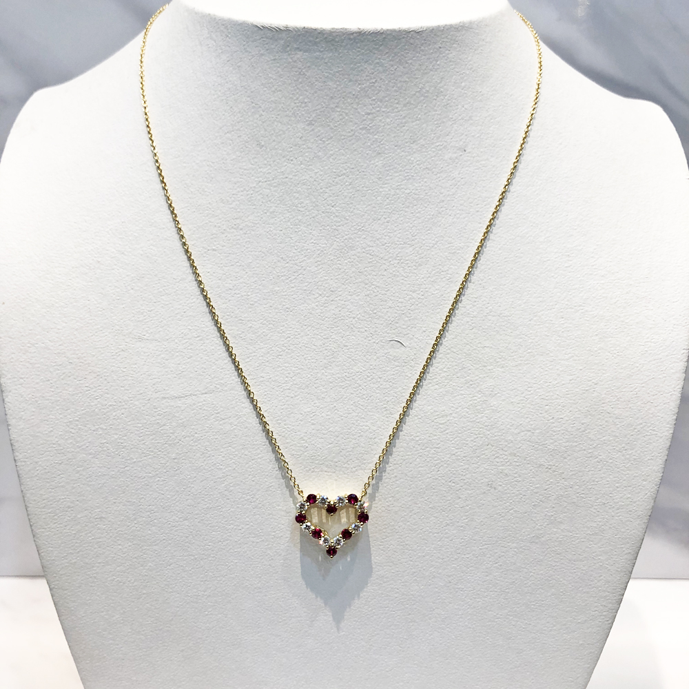 【中古】ティファニー Tiffany センチメンタル K18 ルビー ダイヤ レディース ネックレス