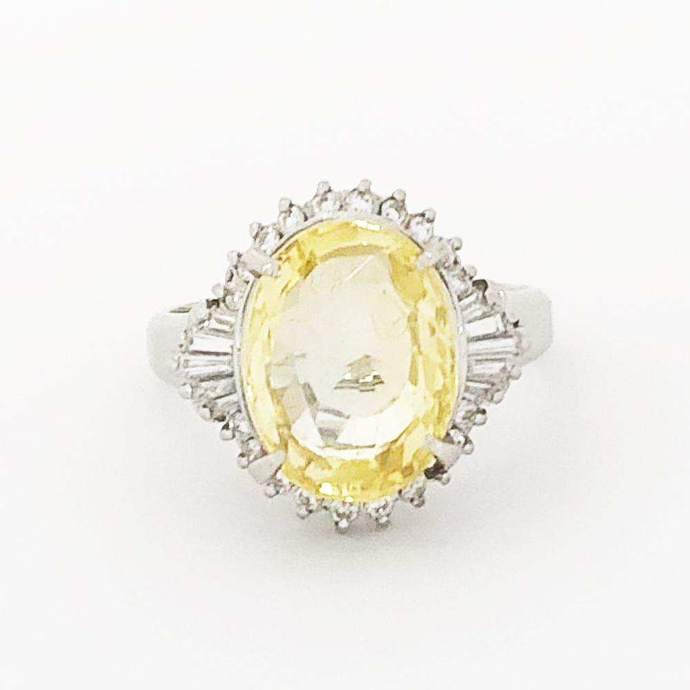 独特な 【】Pt900 非加熱イエローサファイヤ ダイヤ ファッションリング S 7.28ct 7.28ct D D 0.456ct 17.5号 8.8g 指輪, Jewel Vivi original:68a8df0a --- eamgalib.ru