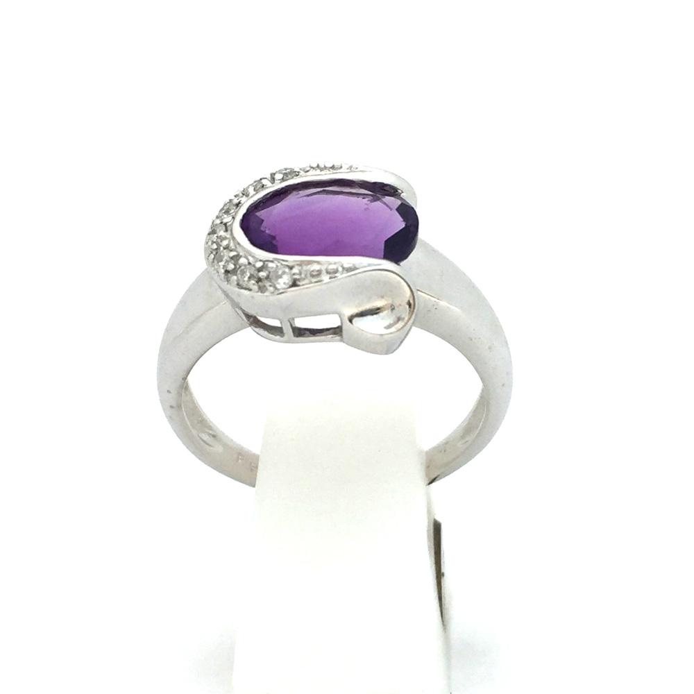 【中古美品】K18WG アメジスト ファッションリング 10号 4.0g レディース 指輪
