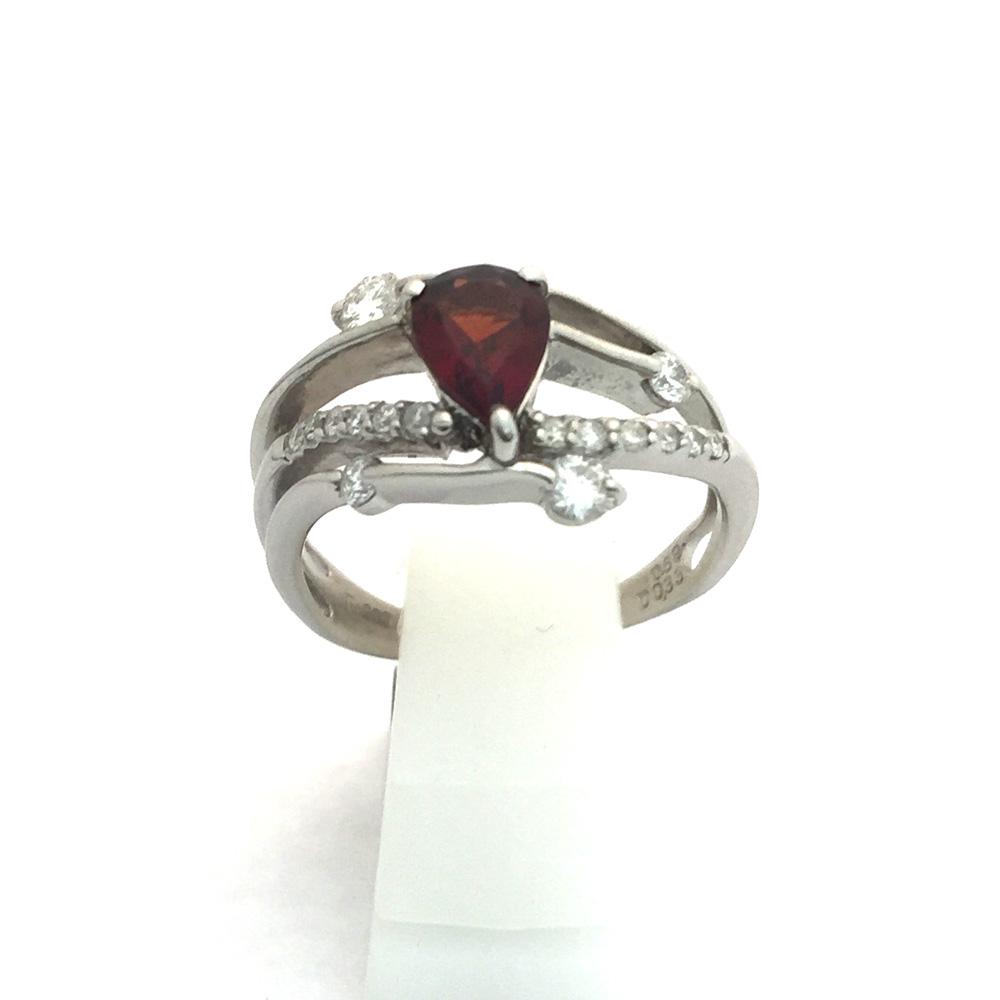 【中古美品】Pt900 ガーネット ダイヤ ファッションリング 13号 G0.69ct D0.33ct 4.8g レディース 指輪