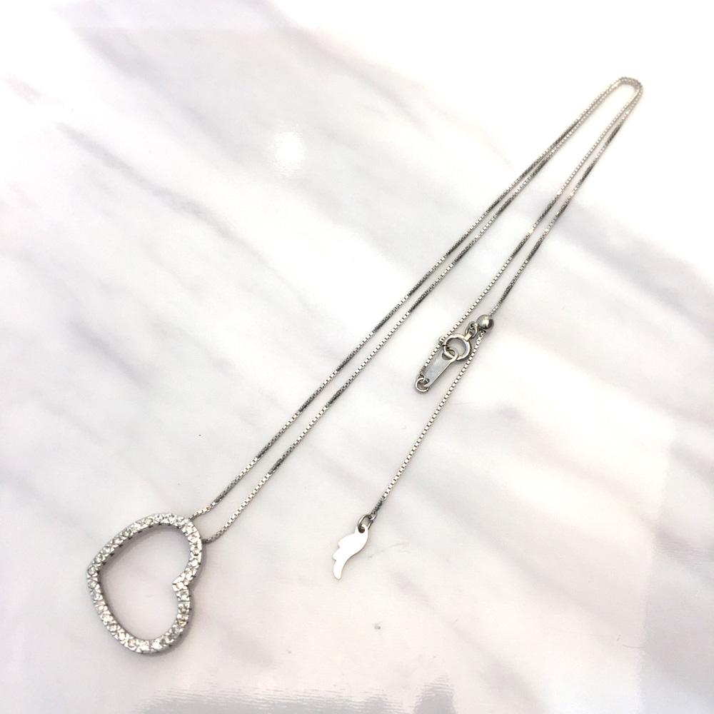 【中古】K18WG ダイヤ ネックレス ハート K18WG D0.35ct