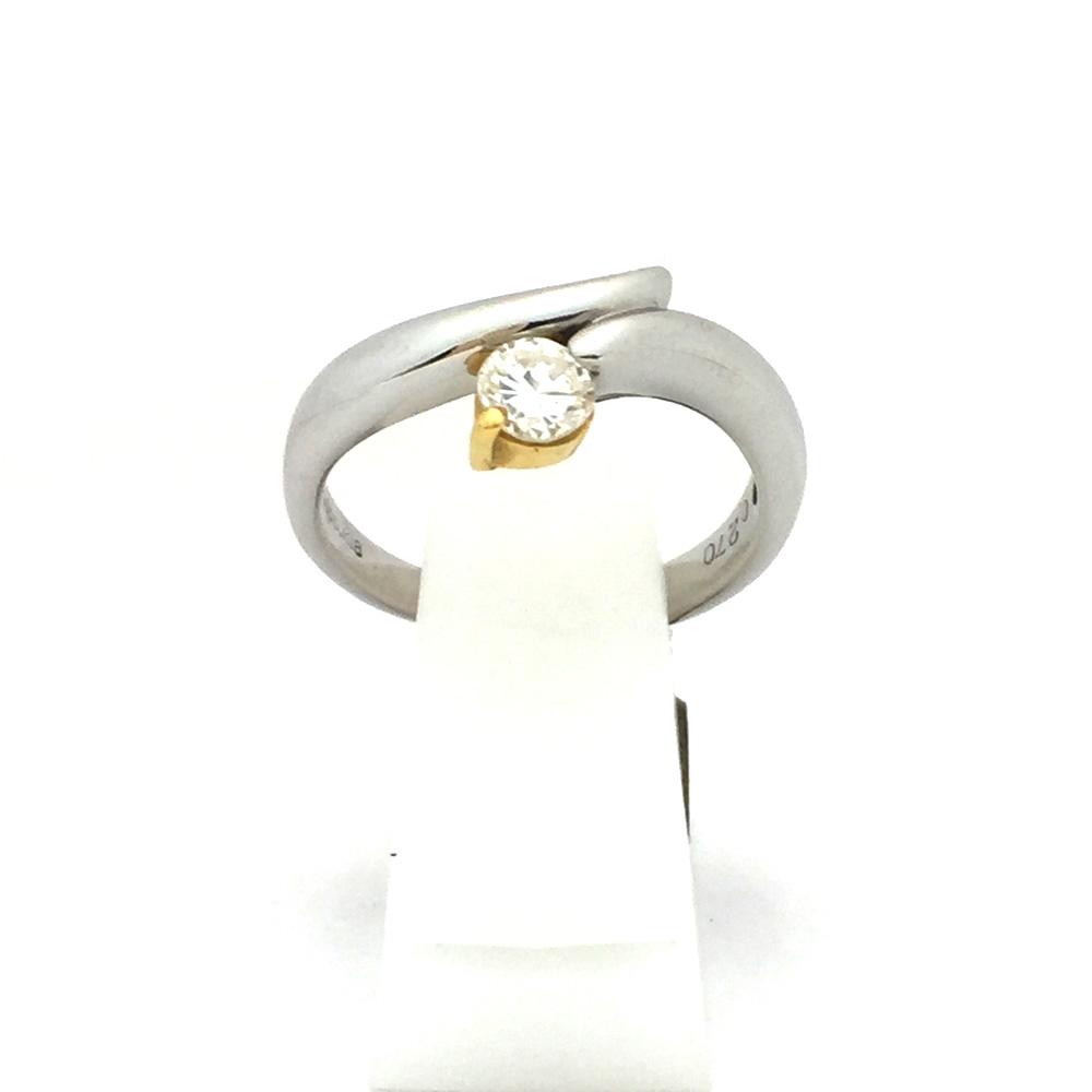 【中古美品】K18/Pt900 ダイヤ ファッションリング 9号 D0.270ct 4.4g レディース 指輪