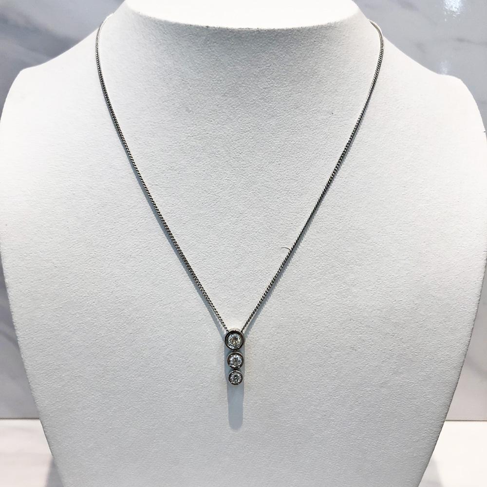 【中古】pt850 ダイヤ ネックレス  D 0.50ct 5.7g